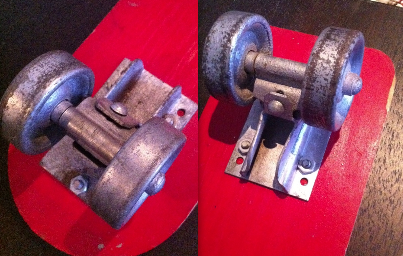 Steel Wheels on a Roller Derby Skate Board #10