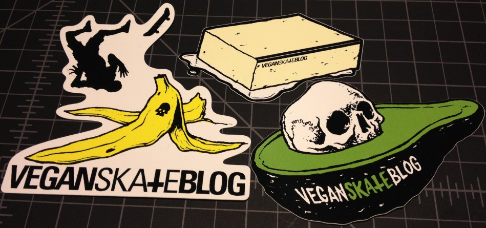 Vegan Skate Blog stickers, banana avocado and tofu