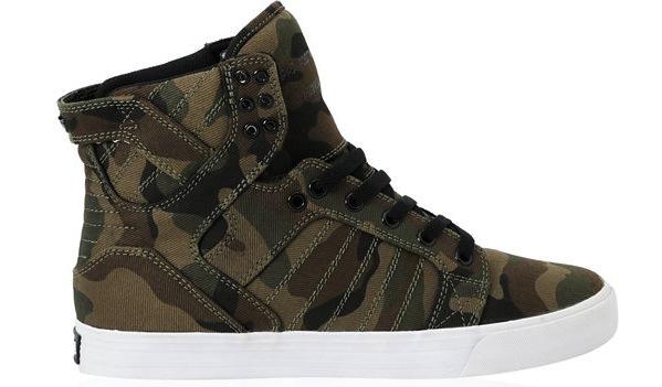 Vegan Supra Skytop Camo skateboard shoes