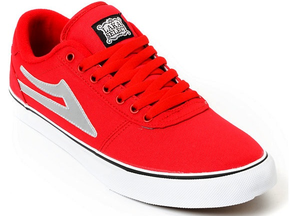 Red Vegan Lakai Skateboard shoes Pretty Sweet Colorway Manchester