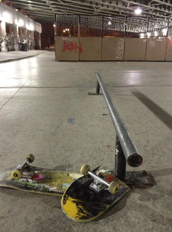 Broken Skateboard at Logan Square Skateboard Park