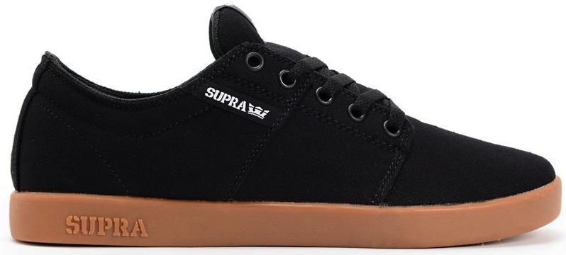 Supra Stacks TK Black Canvas Vegan Skateboard Shoes