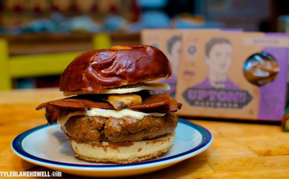 Vegan Bacon Mushroom Melt Burger Uptons Bacon Seitan