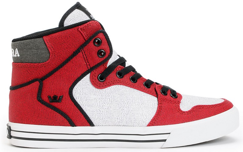 Supra Vaider Red White Black Canvas Vegan Skateboard shoe