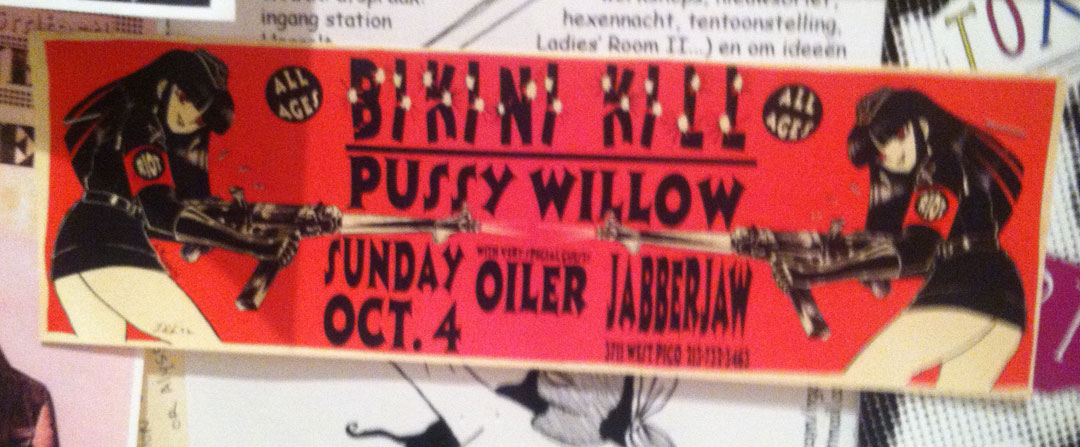 A Bikini Kill flyer that takes back the often exploited theme of women in animation.