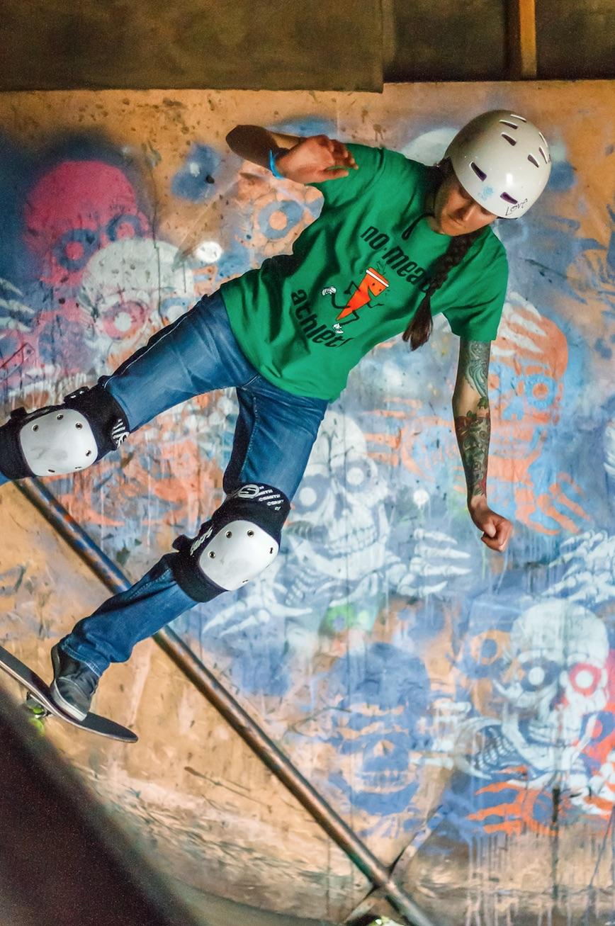 Christine Vegan skateboarder vegetable shredder